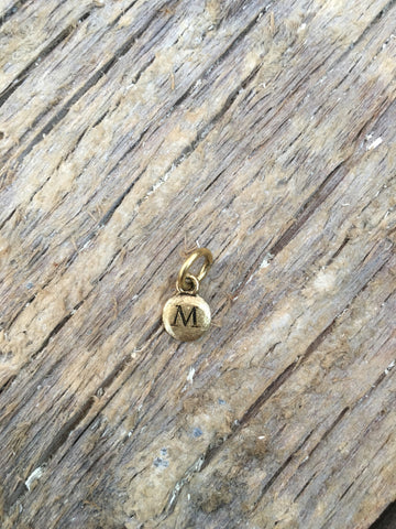 Charm Gold 2 Sided Tiny Monogram M