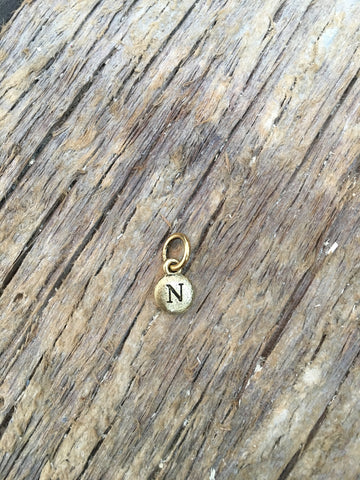 Charm Gold 2 Sided Tiny Monogram N