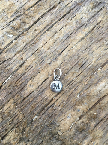 Charm Silver 2 Sided Tiny Monogram M