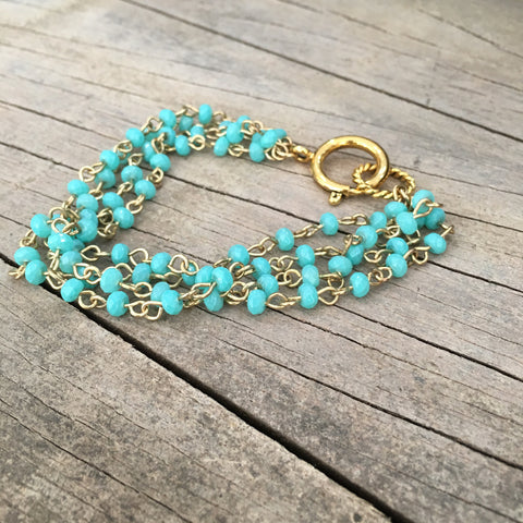 Bracelet Chain Gold Charm Holder Beaded Turquoise 7.5""