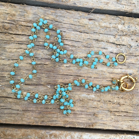 Necklace Gold Charm Holder Beaded Turquoise, 18 + 36""