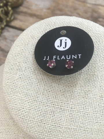 February Swarovski Birthstone Stud Earrings