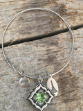 Beaucoup Bangle with August Birthstone Charm