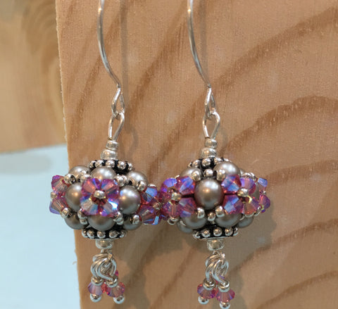 Festival Earrings with Swarovski Crystals & Pearls - Lilac/Grey