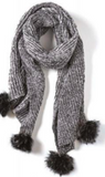 Chanticleer Scarf with Faux Fur Pom Poms