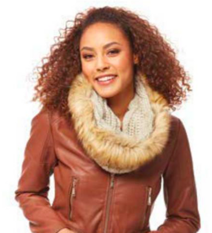 Faux Fur Cable Knit Snood