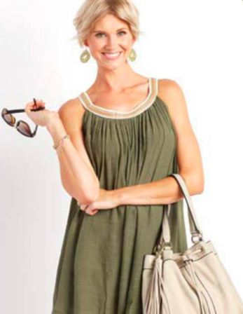 Gauzy Tunic in Olive with Chain Link Trim