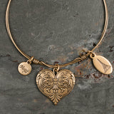 Beaucoup Bangle with Gold Heart Charm