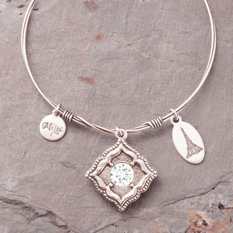Beaucoup Bangle with April Birthstone Charm