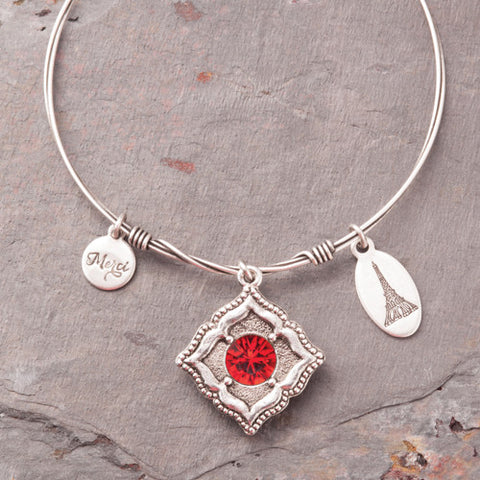 Beaucoup Bangle with January Birthstone Charm