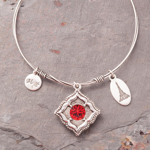 Beaucoup Bangle with July Birthstone Charm