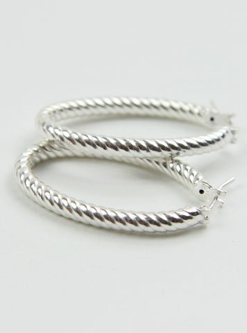 Italian Oval Plait Hoop Earrings - Silver