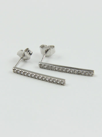 Pave Bar Earrings - Silver