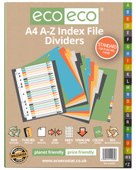 A4 50% Recycled Set A-Z Index File Dividers