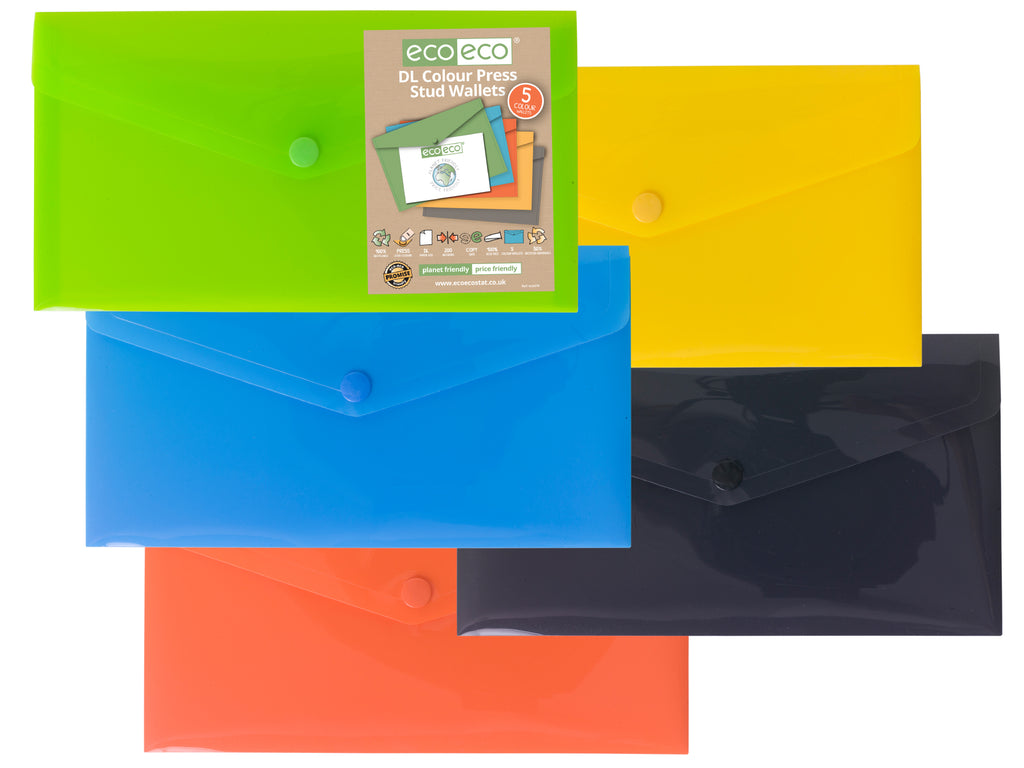 Pack 5 DL 50% Recycled Colour Press Stud Wallets