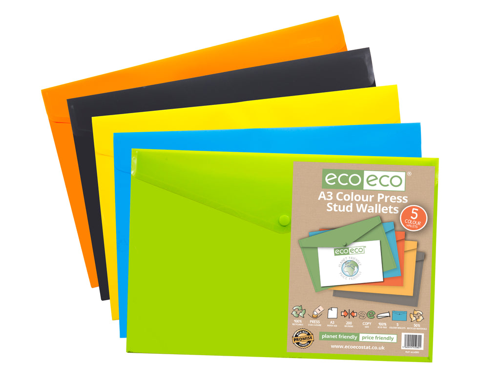 Pack 5 A3 50% Recycled Colour Press Stud Wallets