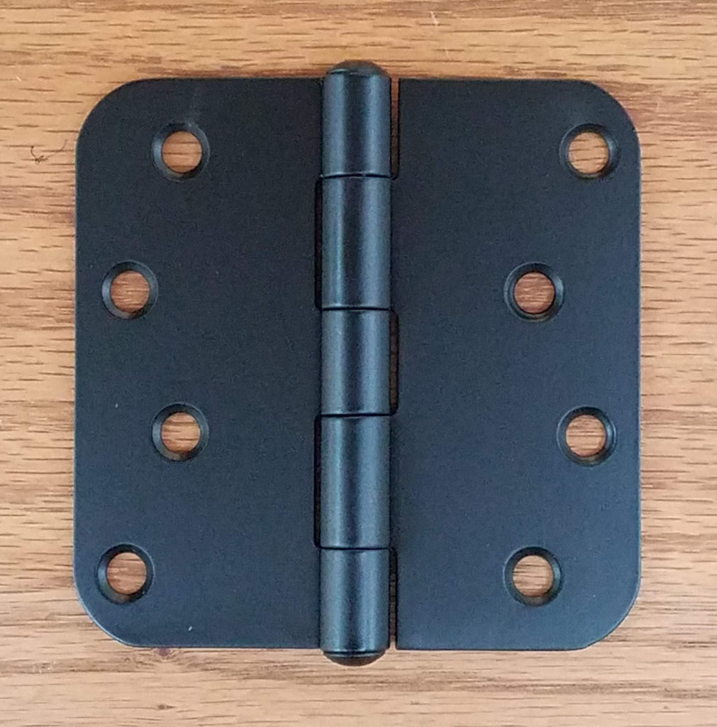 Stainless Steel Gate Hinge 4 inch x 4 inch 5/8 Inch radius corners, Black finish (3 pack)