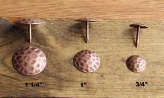 ROUND Clavos, Timeworn, distressed, hammered look, antique copper finish - Wild West Hardware