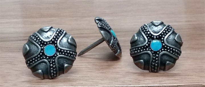 "Native American Style Clavos, 1 1/8"" diameter - Antique Silver finish"