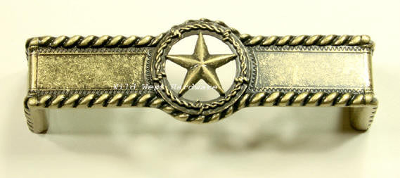 Star Drawer Pull w/ rope edge, Antique Brass Finish