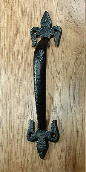 Fleur de Lis Door Pull #2 -  Black Powder Coat finish