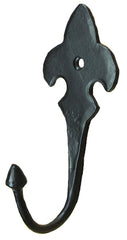 Fleur de Lis style hand forged decorative iron coat hook - Wild West Hardware