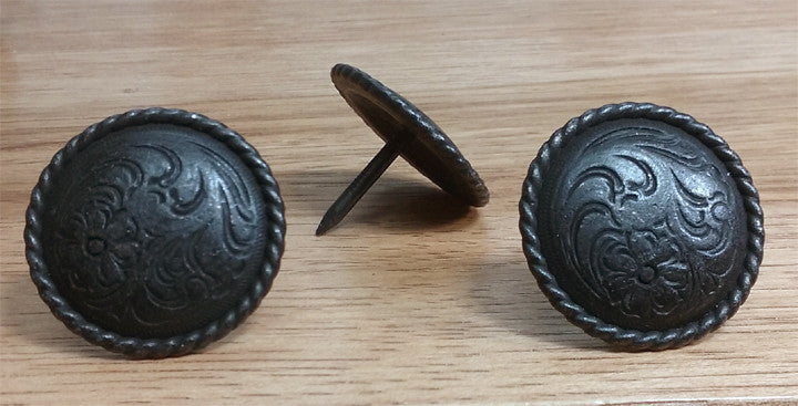 "Floral_Engraved Clavos, with rope edge, 1"" diameter - Wild West Hardware"