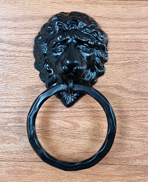 "Lion Head Door Knocker - Door Pull with hammered 5"" dia. Ring"