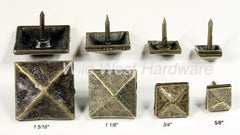 Decorative Nail Pyramid Shape - Antique Brass finish - Wild West Hardware