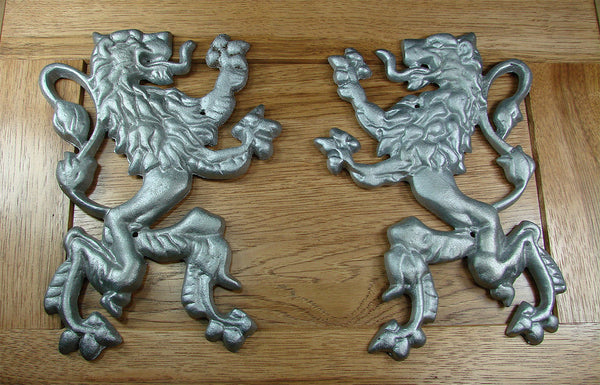 Pair Of Rampant Lions A Gate Or Door Decoration Wild