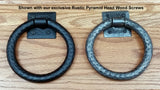 "Distressed 6"" ring pull with hammered back plate (our largest in this class) - Wild West Hardware"