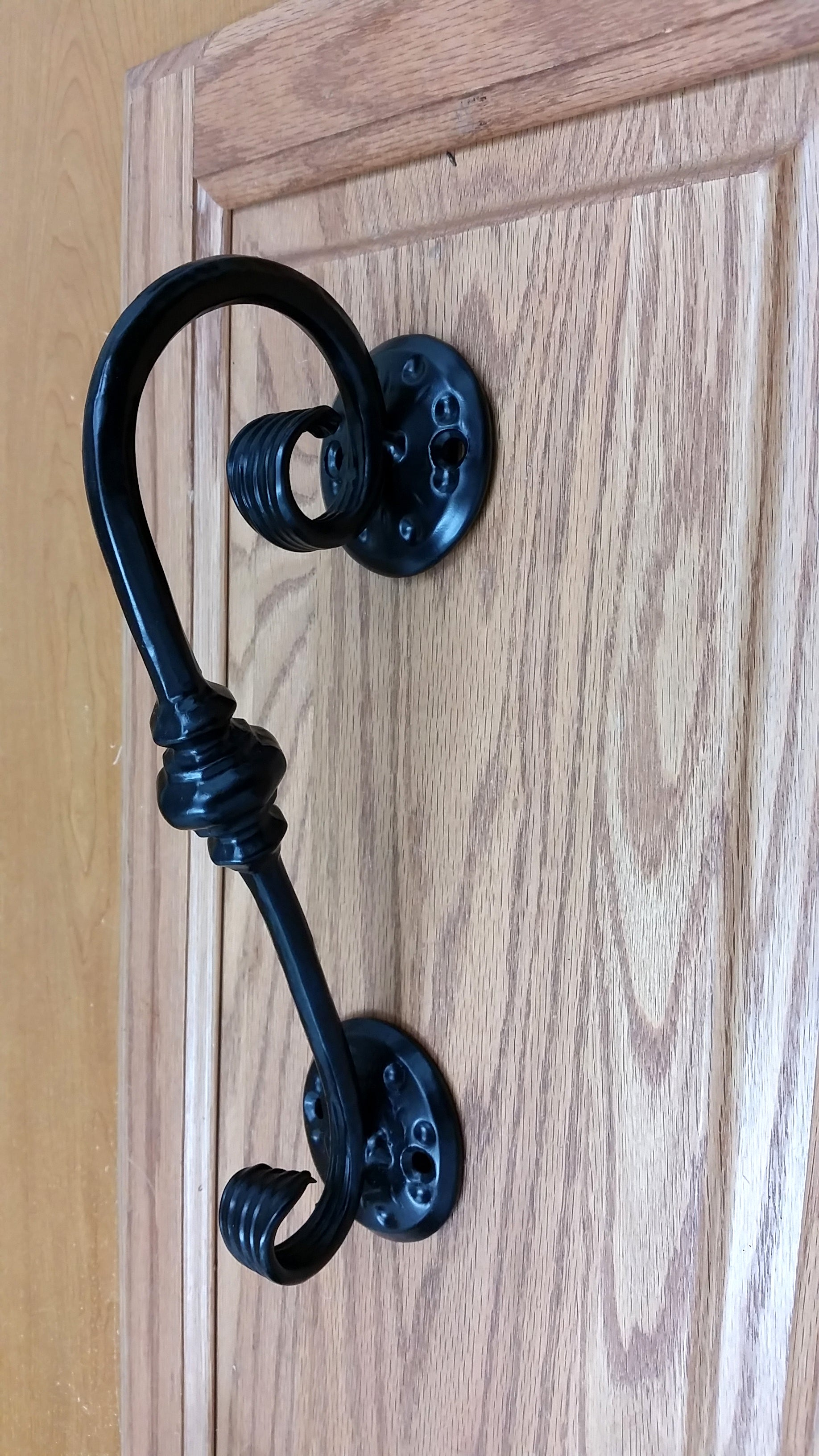 Scrolled Door Pull with decorative round base plates - Wild West Hardware