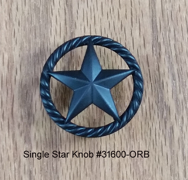 Single Star Knob with Rope Edge, Oil Rubbed Bronze finish