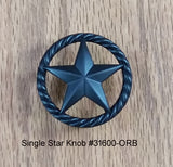 Single Star Knob with Rope Edge, Oil Rubbed Bronze finish - Wild West Hardware