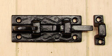Old World Surface Slide Bolt With looped handle - Wild West Hardware