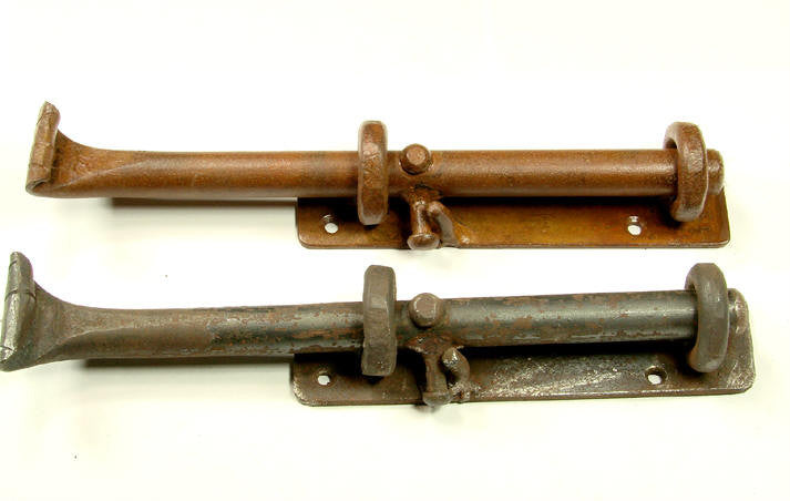 "8"" Heavy Duty Rustic Cane Bolt / for bottom of door or gate (incl flat strike plate) - Wild West Hardware"