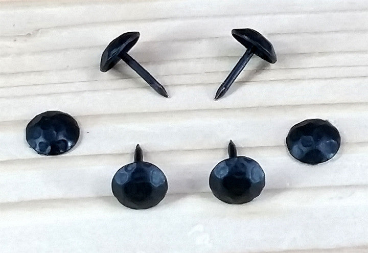 "(100 pack SALE) of Round Clavos -   7/16"" dia. head-Lightly Hammered - Matte black finish"