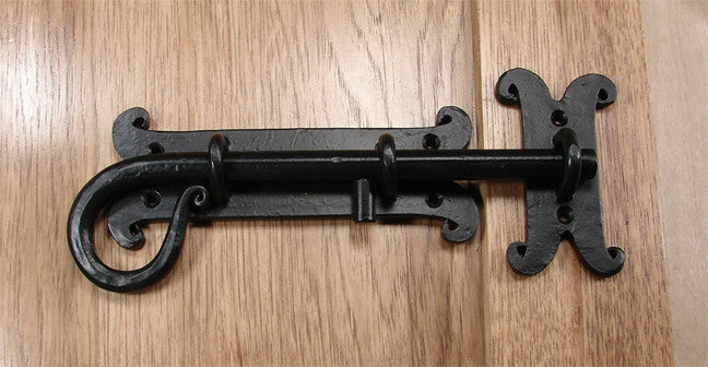 Spanish Style Slide Bolt  - Black Powder Coat finish - Wild West Hardware