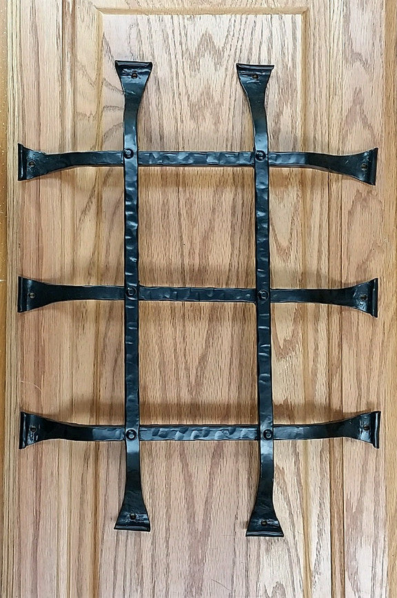 "Premium CURL tip Speakeasy Grille  - Size: 12"" x 16""  5 Bars, Black Powder Coat finish - Wild West Hardware"
