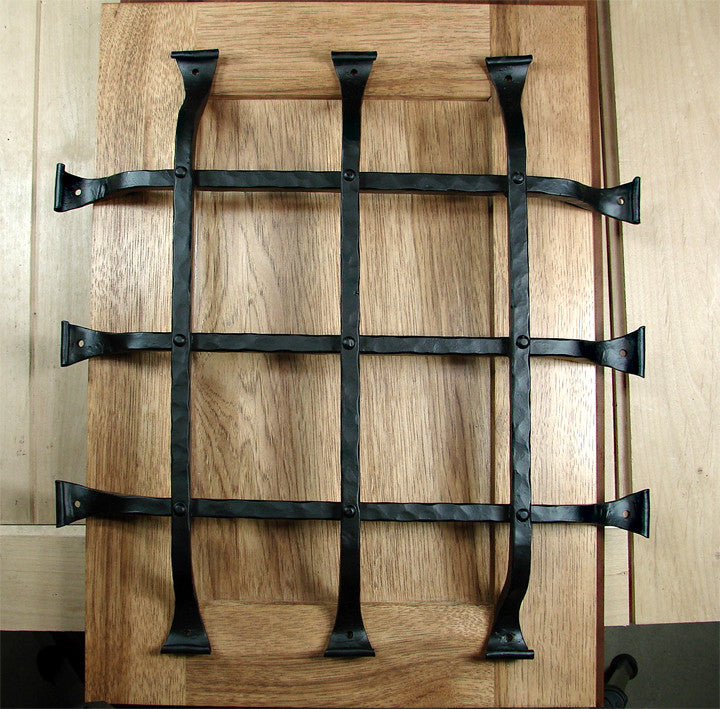 "Premium Curled Tip Speakeasy Grille  - Size: 16"" x 16""  6 Bars, Black Powder Coat finish - Wild West Hardware"