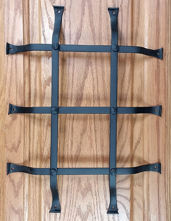 "Standard Style Speakeasy Grille  - Size: 12"" x 16"" - 5 Bars with flared mounting legs"