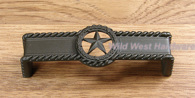 ... Star Drawer Pull W/ Rope Edge, Oil Rubbed Bronze Finish