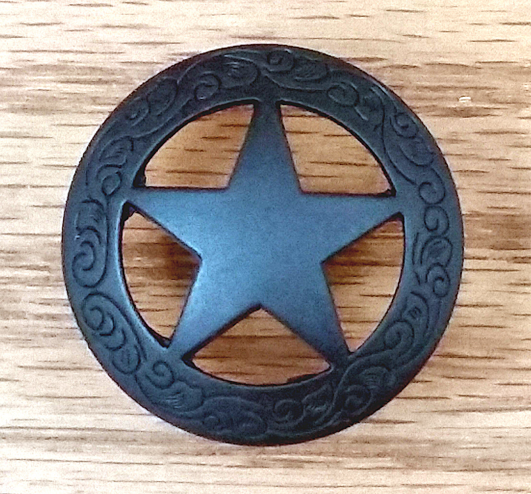 Western Style Star Knob with Engraved Border Edge, Oil Rubbed Bronze finish (Set of 10) - Wild West Hardware