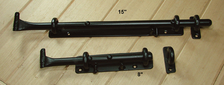 Heavy Duty Rustic Surface Slide Bolts (with eyelet) for top of door or horizontal use