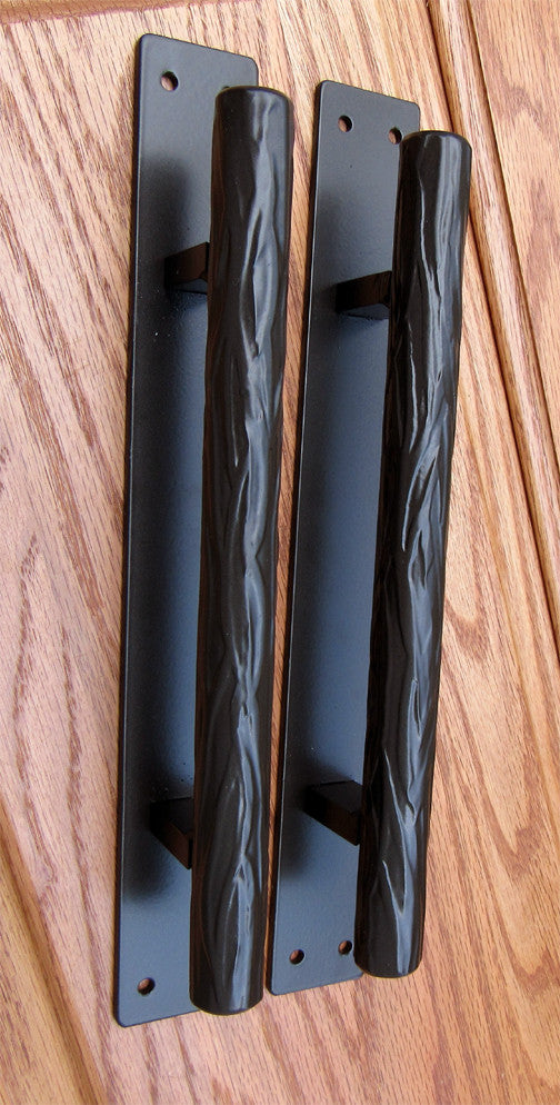 "Tree Branch Door Pull #1 - Dark bronze powder coat finish - 10"" handle, 12"" back plate"