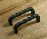 Small Twisted Iron Door Pull - Black Powder Coat finish