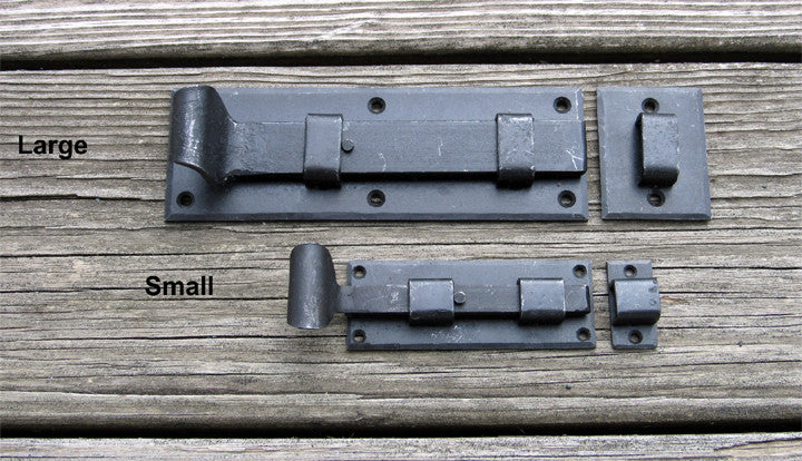 Colonial Surface Slide Bolt with curled handle - Wild West Hardware