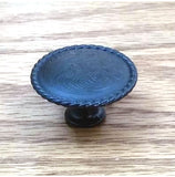 Engraved Knob w/ rope edge, Oil Rubbed Bronze finish - Wild West Hardware