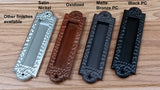 Flush Pull Handle, Finger Pull with Distressed, Pitted Look, Matte Bronze finish - Wild West Hardware