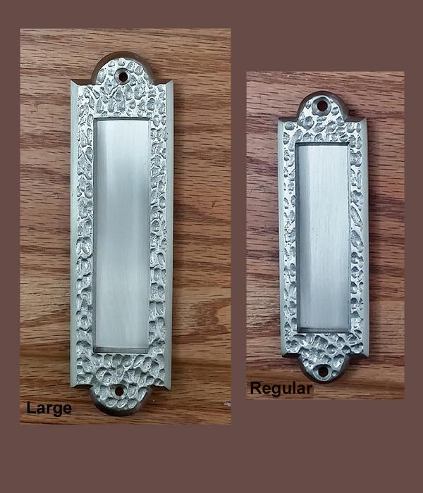 Flush Pull Handle, Finger Pull with Distressed, Pitted Look, Satin Nickel - Wild West Hardware